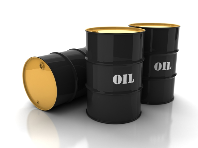 Black oil barrels with mark on white background