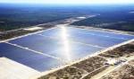 An arial view shows the Lieberose solar farm in Turnow-Preilack