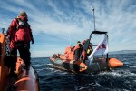 Medecins Sans Frontiers (MSF) and Greenpeace conduct joint sea operations to provide assistance at sea to boats in distress off the coast of Lesbos island in Greece, in coordination with and in support of the Greek Coast Guard. Two Rigid Inflatable Boats (RIBs) are deployed. One leads the operation while the other acts as a support unit.