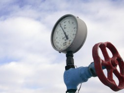A pressure gauge is pictured at a Ukrainian gas compressor station in the village of Boyarka