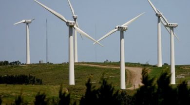 View of the first Wind Farm in Uruguay located at 'Loma Alta', in Rocha