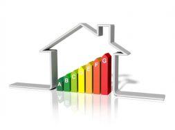 3d illustration of energy efficient house, over white background