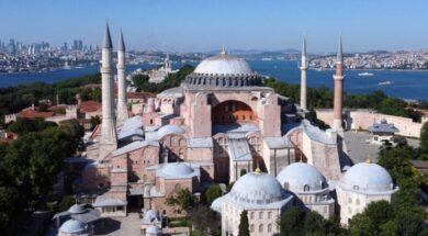 Byzantine-era monument of Hagia Sophia or Ayasofya is seen in Istanbul