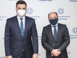 Ο υπουργός Υγείας, Βασίλης Κικίλιας μαζί με τον Γενικό Διευθυντή της AVIN Oil, Δημήτρη Κονταξή
